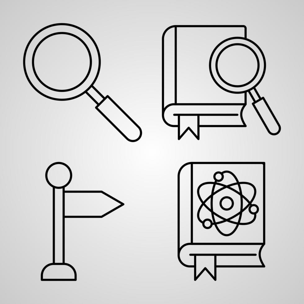 conjunto de ícones simples de ícones de linha relacionados à biblioteca vetor