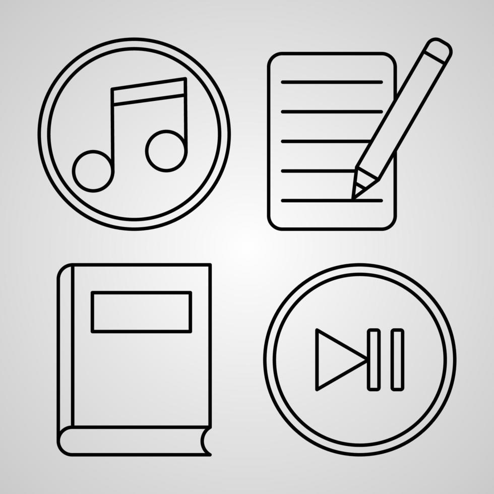 ícone de linha multimídia definir símbolo vetorial em estilo de contorno moderno vetor