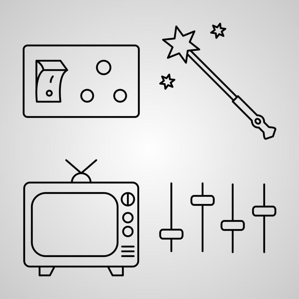 delinear ícones de elementos básicos isolados no fundo branco vetor
