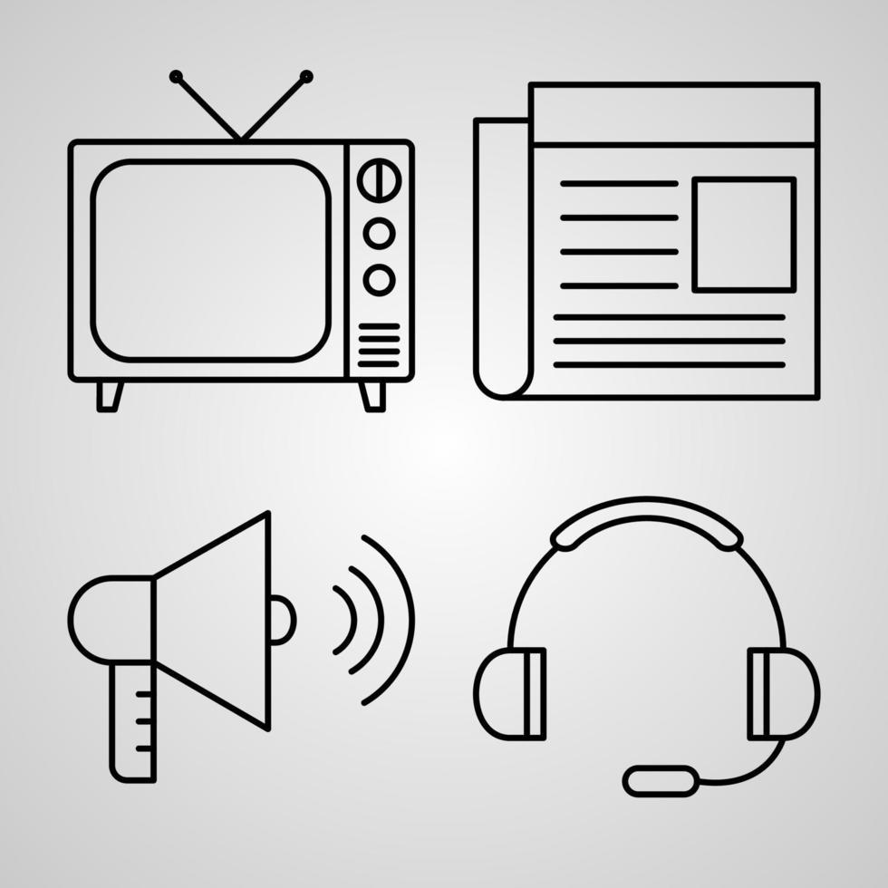 conjunto simples de ícones de linha de vetor de comunicação
