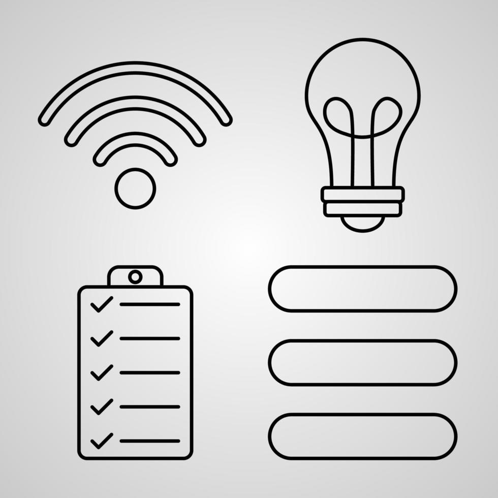 conjunto de ícones de linha essenciais isolados em símbolos de contorno branco essenciais vetor