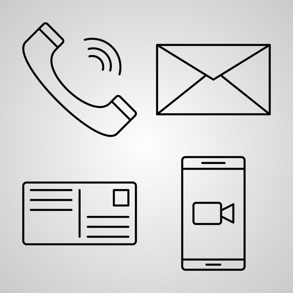 conjunto de ícones de linha de vetor de comunicação
