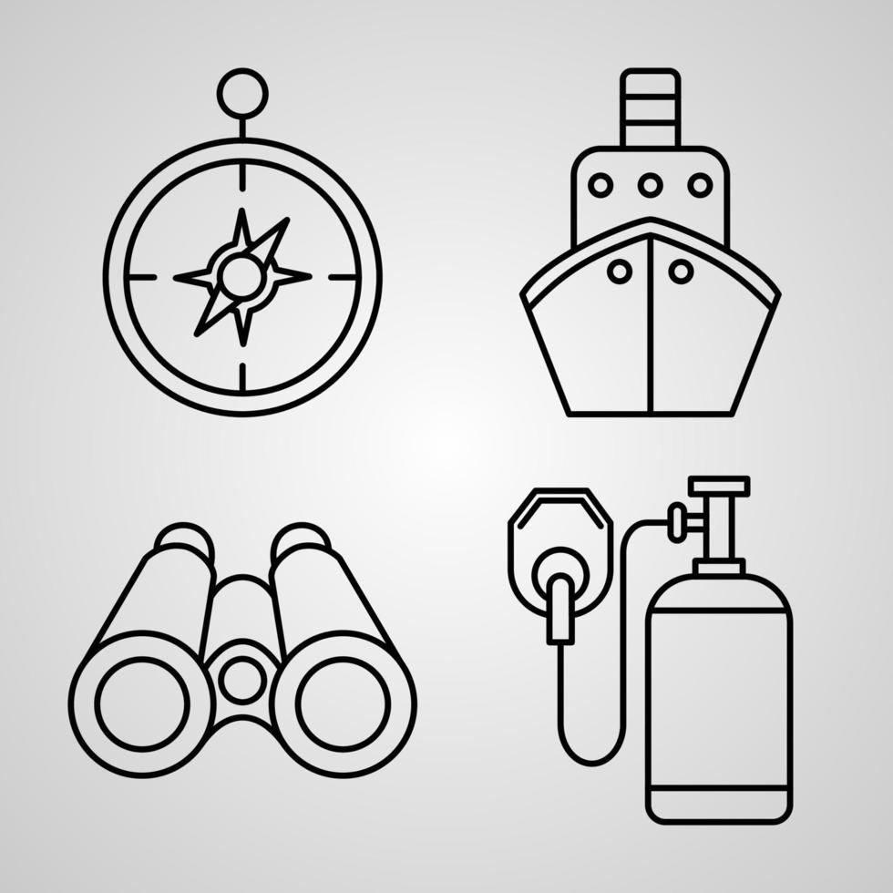 coleção de ícones de marinheiro fundo de cor branca vetor