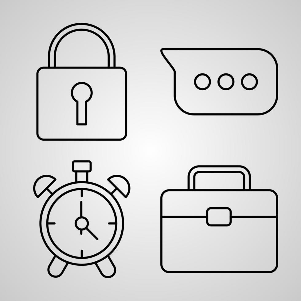 conjunto de ícones de linha essencial de símbolo vetorial em estilo de contorno moderno vetor