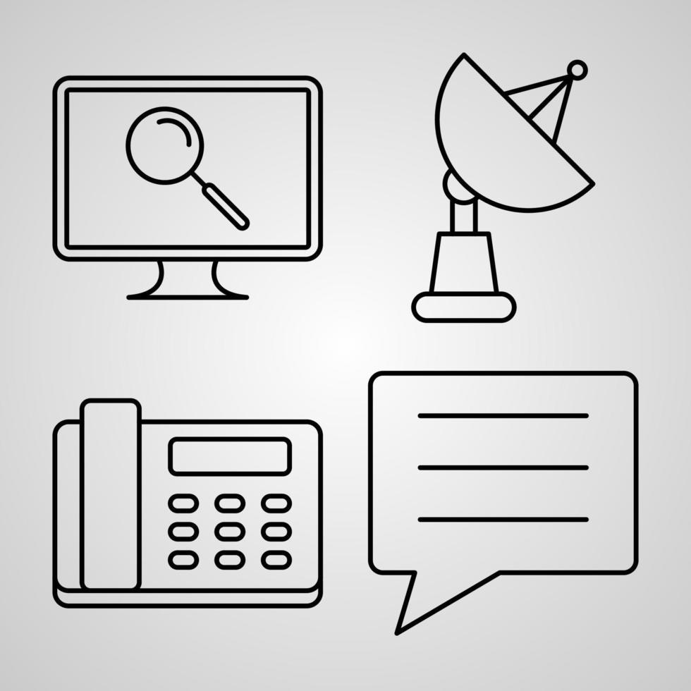 ícones de linha de comunicação definidos em contorno branco símbolos comunicação vetor