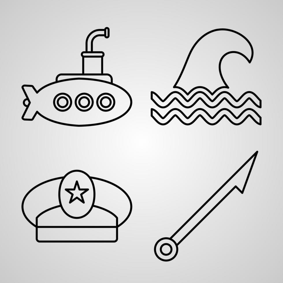coleção de símbolos de marinheiro em fundo branco ícones de contorno de marinheiro vetor
