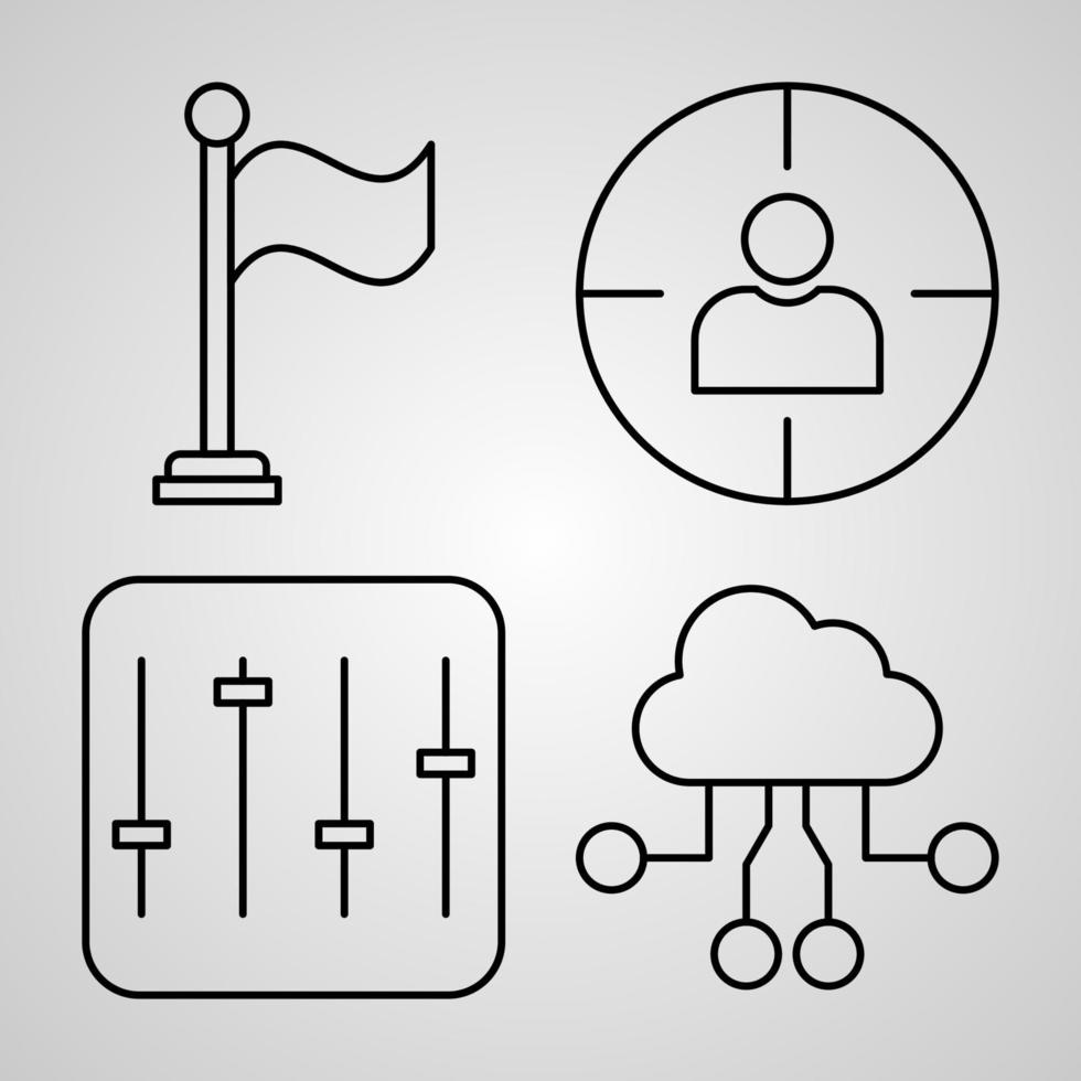 coleção de símbolos essenciais em estilo de contorno vetor