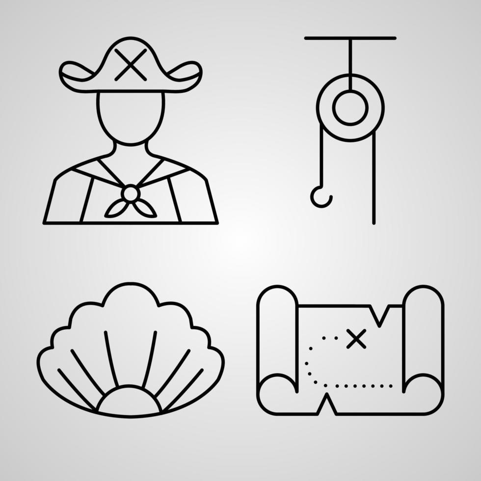 conjunto de ícones de marinheiro ilustração vetorial, isolado no fundo branco vetor