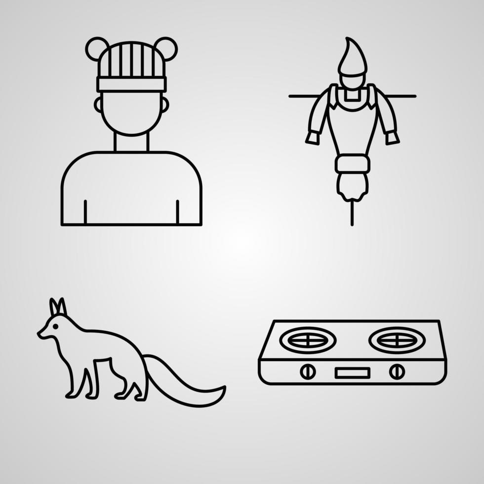 conjunto de ilustração vetorial de ícones de outono isolado no fundo branco vetor