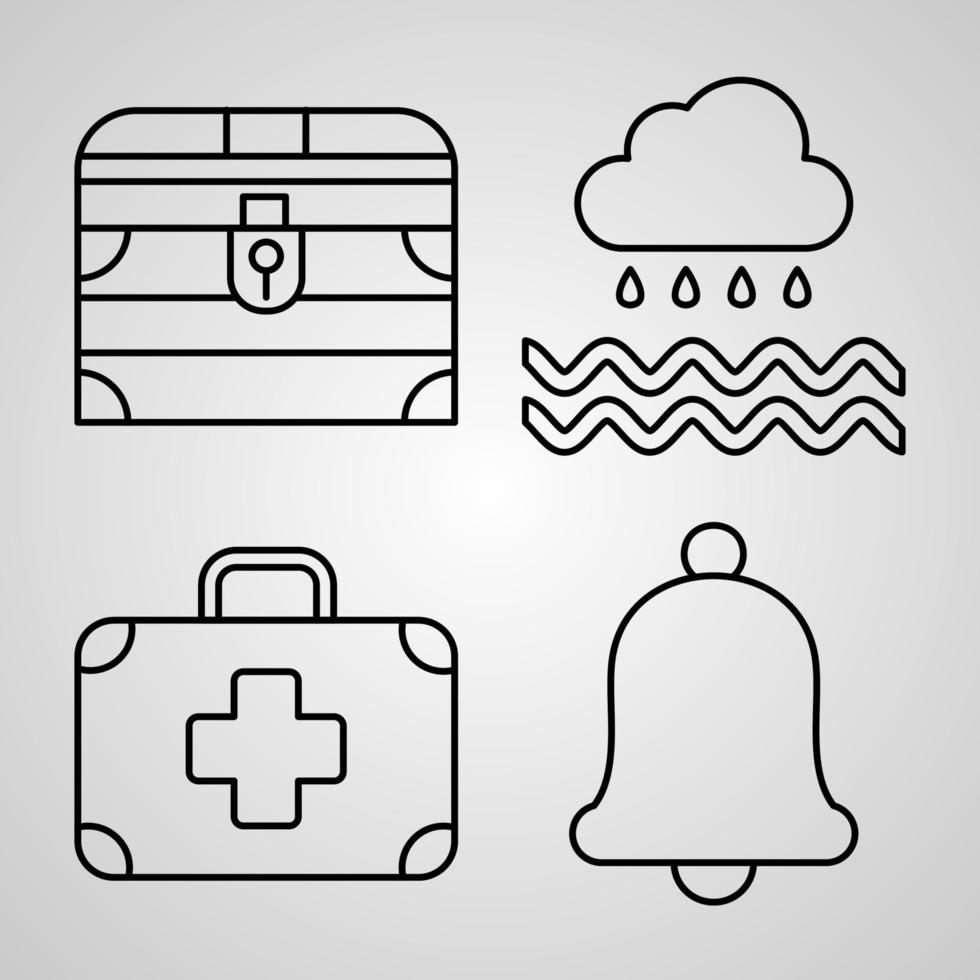 conjunto de ícones de linha de marinheiro isolado em símbolos de contorno branco marinheiro vetor