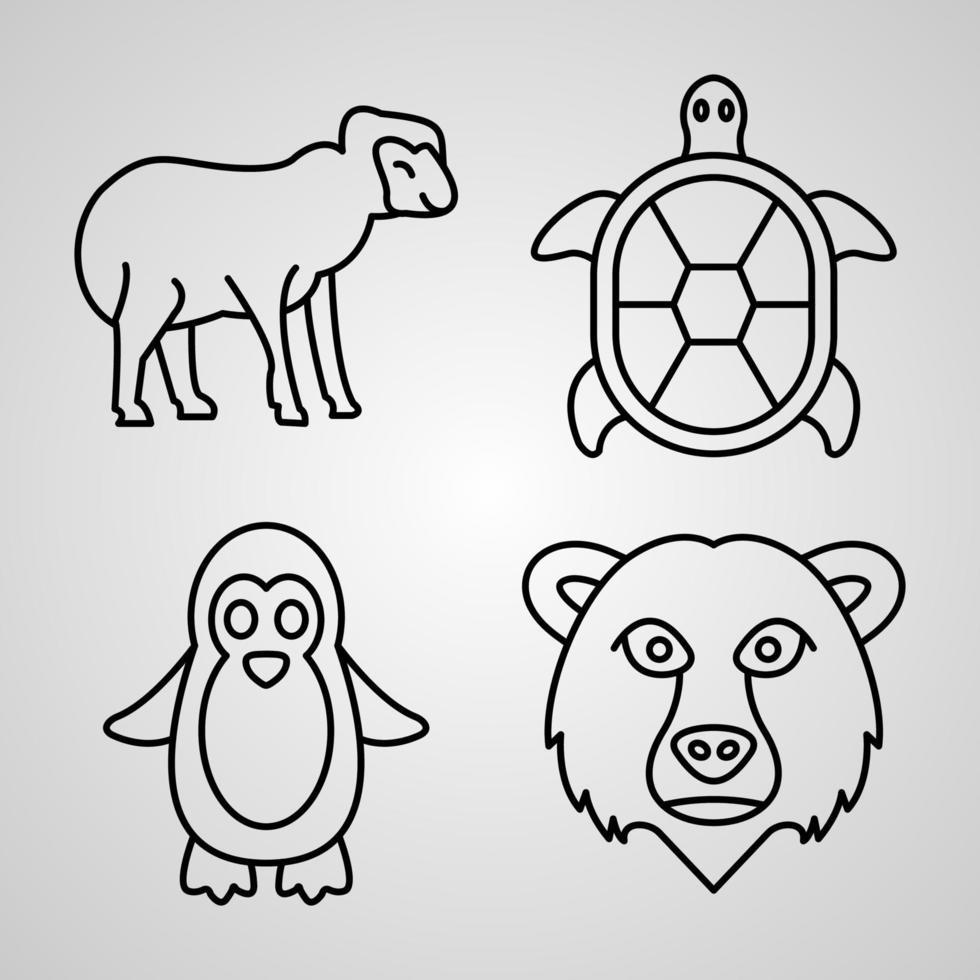 conjunto de ícones de animais ilustração vetorial eps vetor