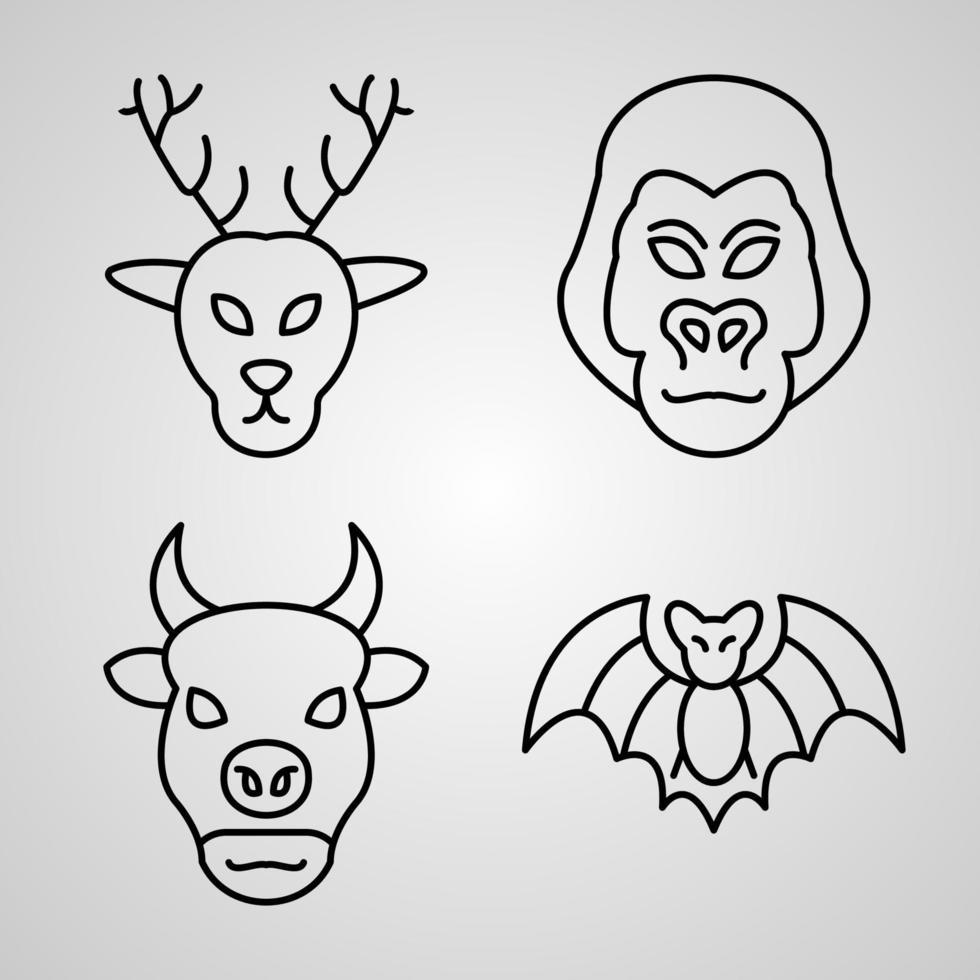 conjunto de ilustração vetorial de ícones de animais isolada no fundo branco vetor