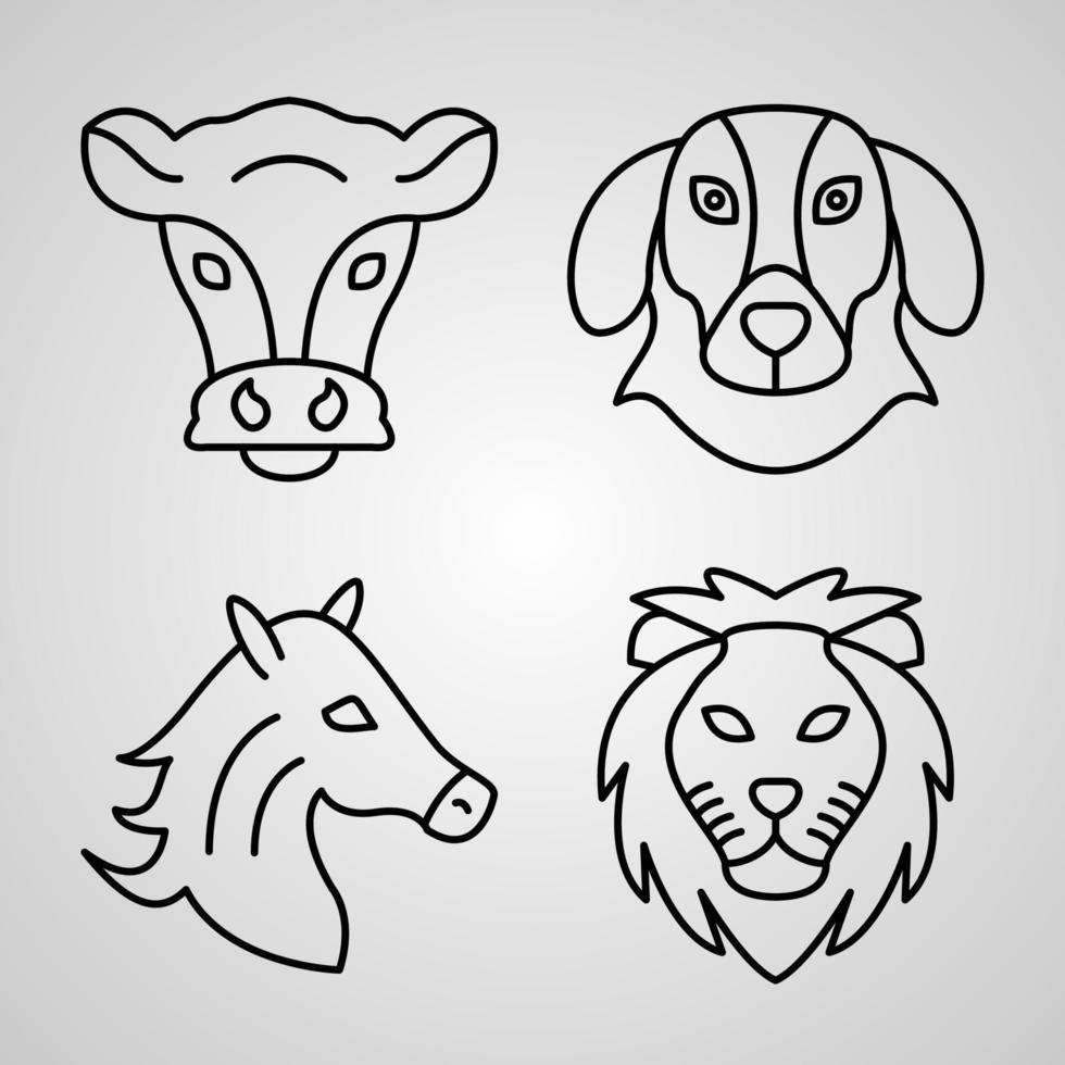 conjunto de ícones vetoriais de animais vetor