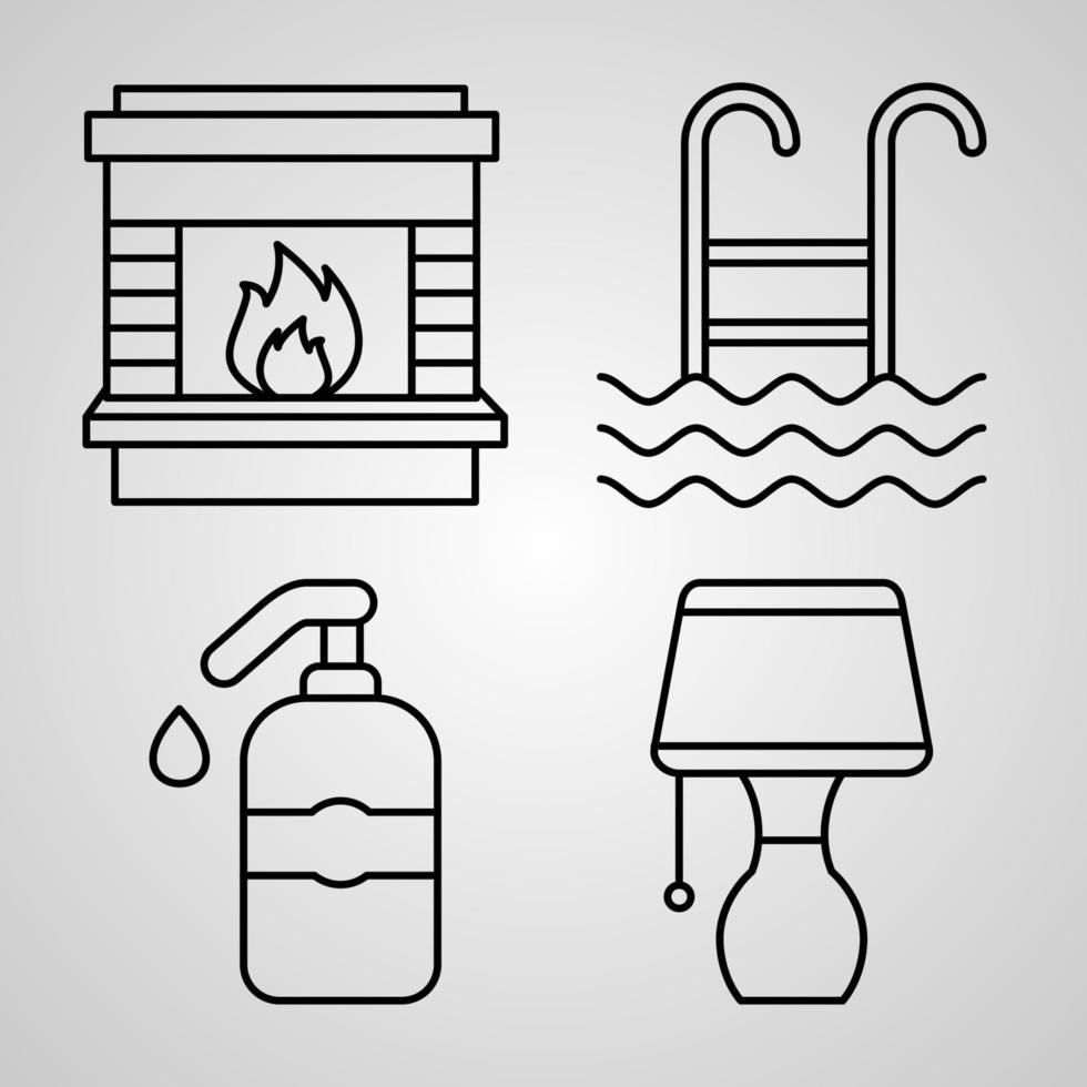 conjunto simples de ícones de linha de vetor de hotel