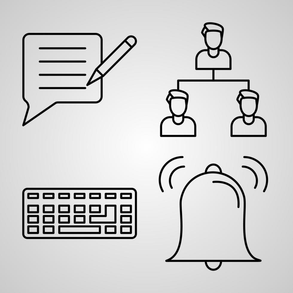 conjunto de ícones de design plano de linha fina de comunicação vetor