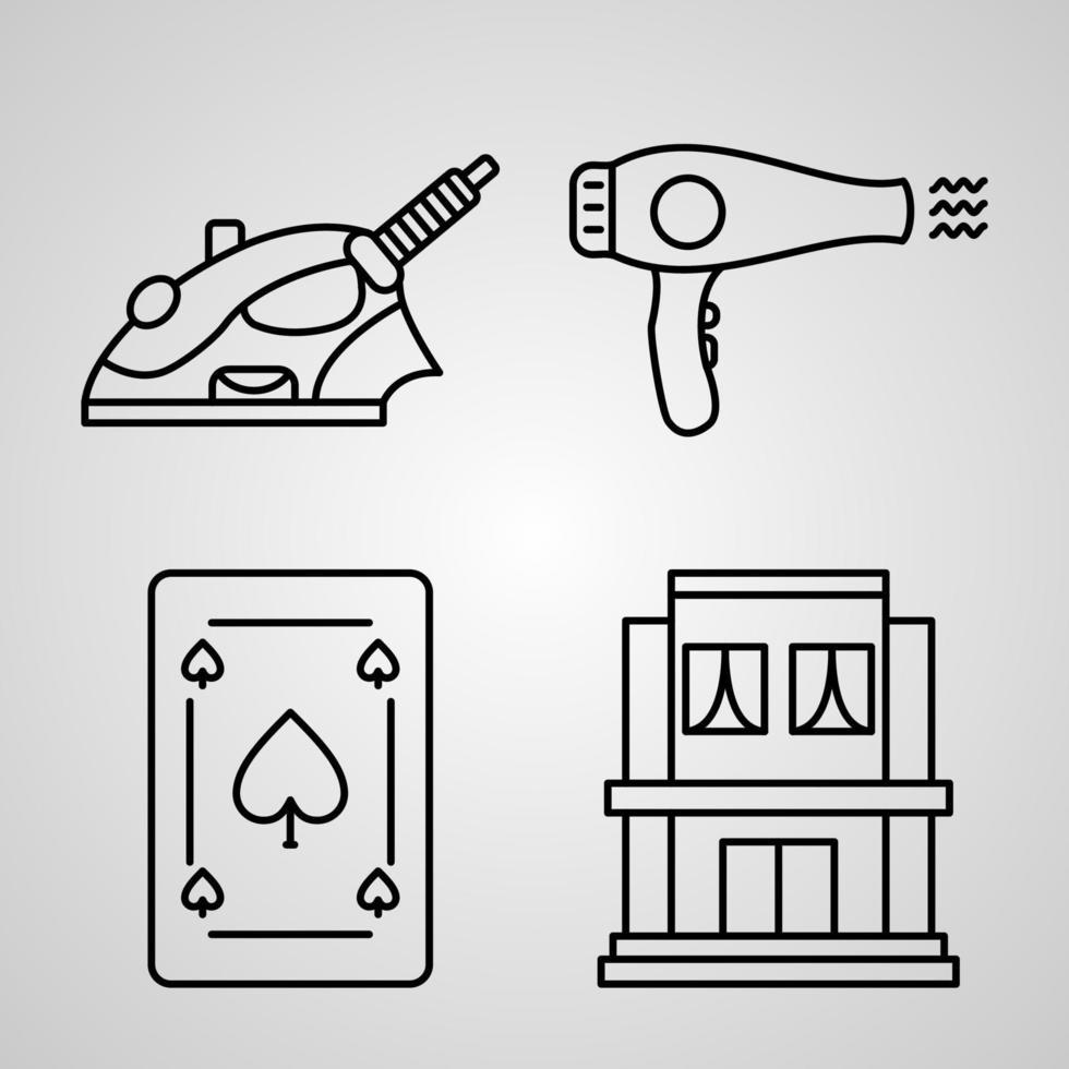 conjunto de ícones de linha de hotel coleção de símbolo vetorial vetor