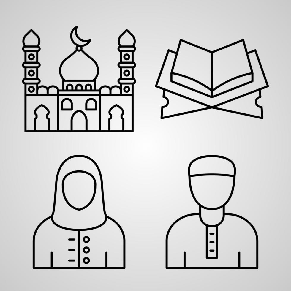 conjunto de ícones de linhas vetoriais do ramadã e do eid vetor