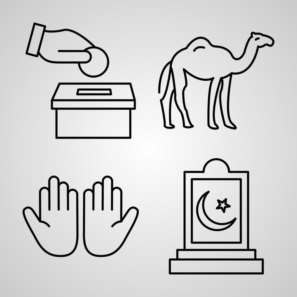 Conjunto de ícones de ramadã e eid ilustração vetorial eps vetor