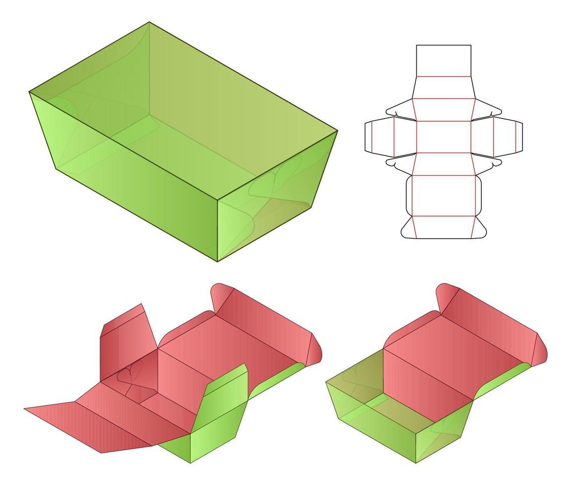 design de modelo cortado de embalagem de caixa. Maquete 3D vetor