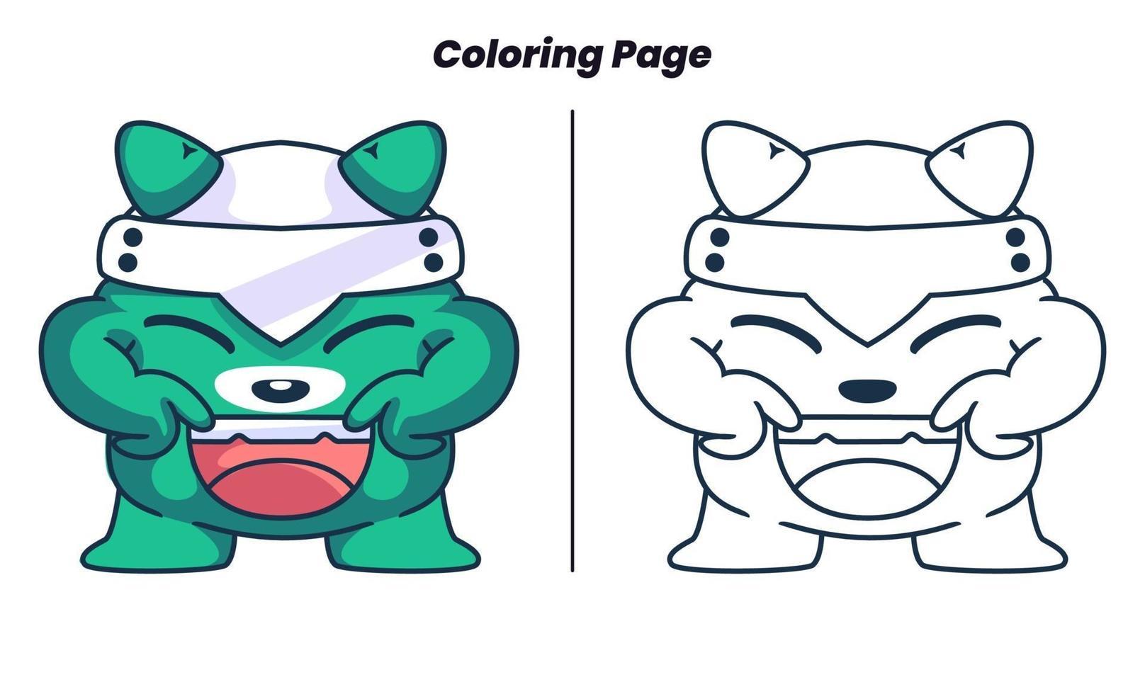 monstro fofo com página para colorir vetor