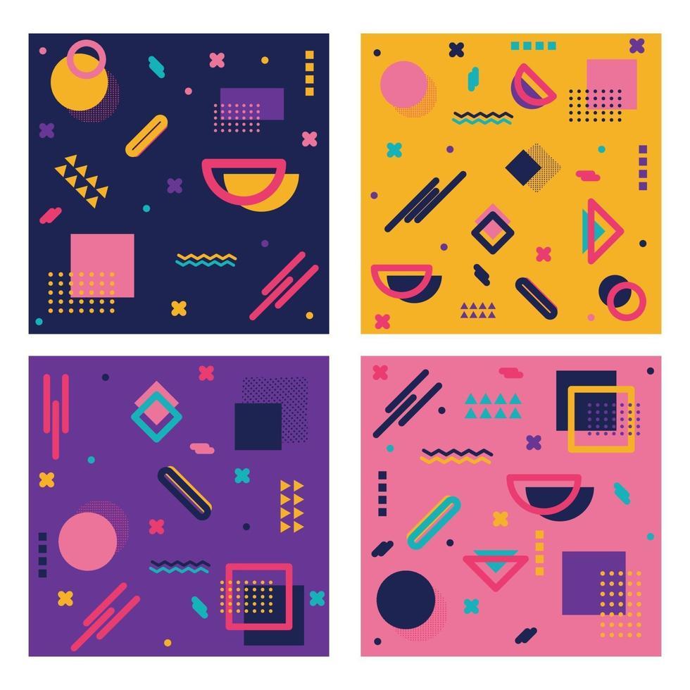 fundos abstratos de 4 peças com diferentes formas geométricas vetor