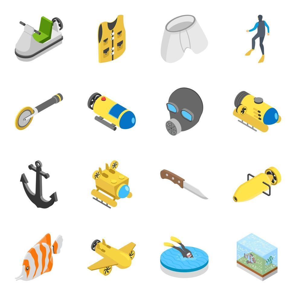 elementos de mergulho subaquático vetor