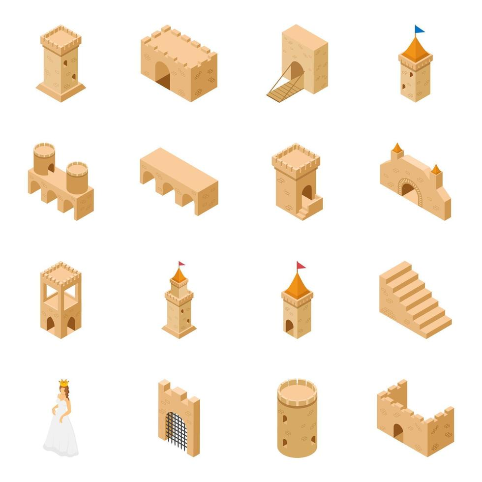 elementos de castelo medieval vetor
