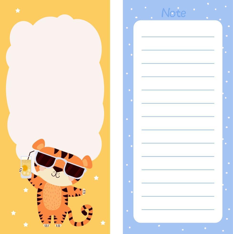 papel de nota, lista de tarefas, modelos de adesivos de tigre com óculos de sol vetor