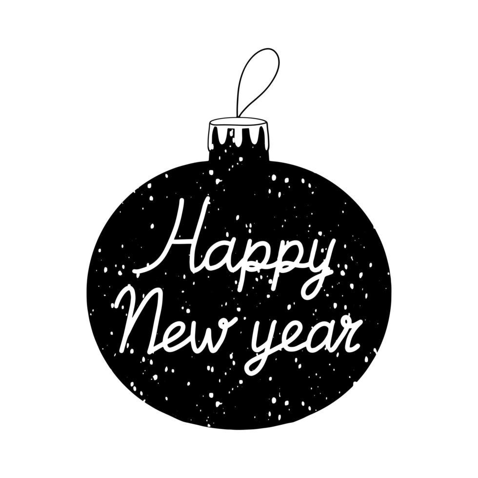 mão desenhada bola da árvore de Natal com neve e letras de feliz ano novo vetor