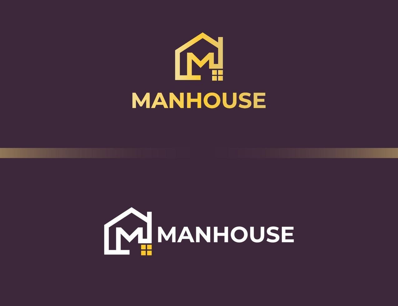 logotipo da letra m dourada com conceito de casa ou edifício vetor
