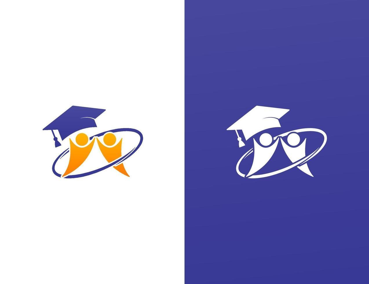 design de logotipo de estudo escolar com conceito de trabalho em equipe vetor
