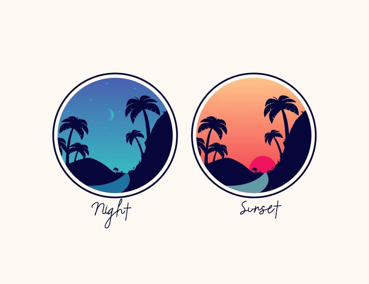 pôr do sol e montanha à noite com logotipo de ilustração de palmeira vetor