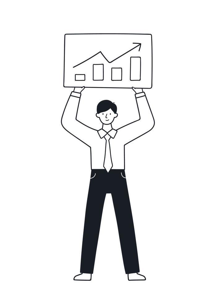 empresário faz a apresentação do projeto. ilustração em vetor doodle.