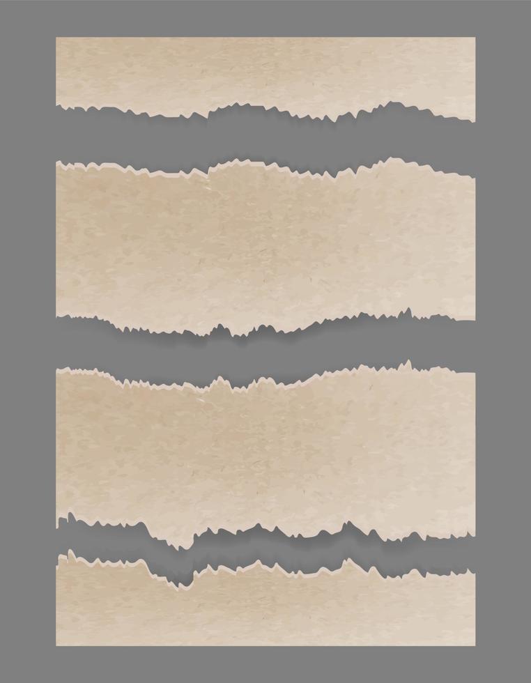 papelão rasgado rasgado. conjunto texturizado vetor