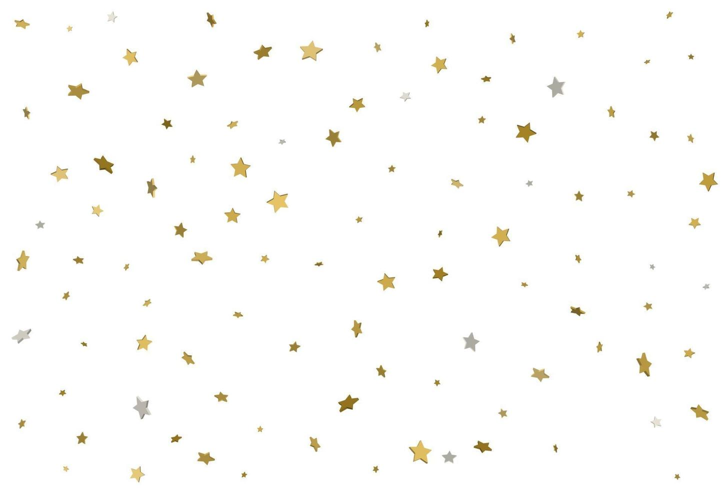 fundo estrela de ouro. Confetes de estrelas douradas 3D. vetor