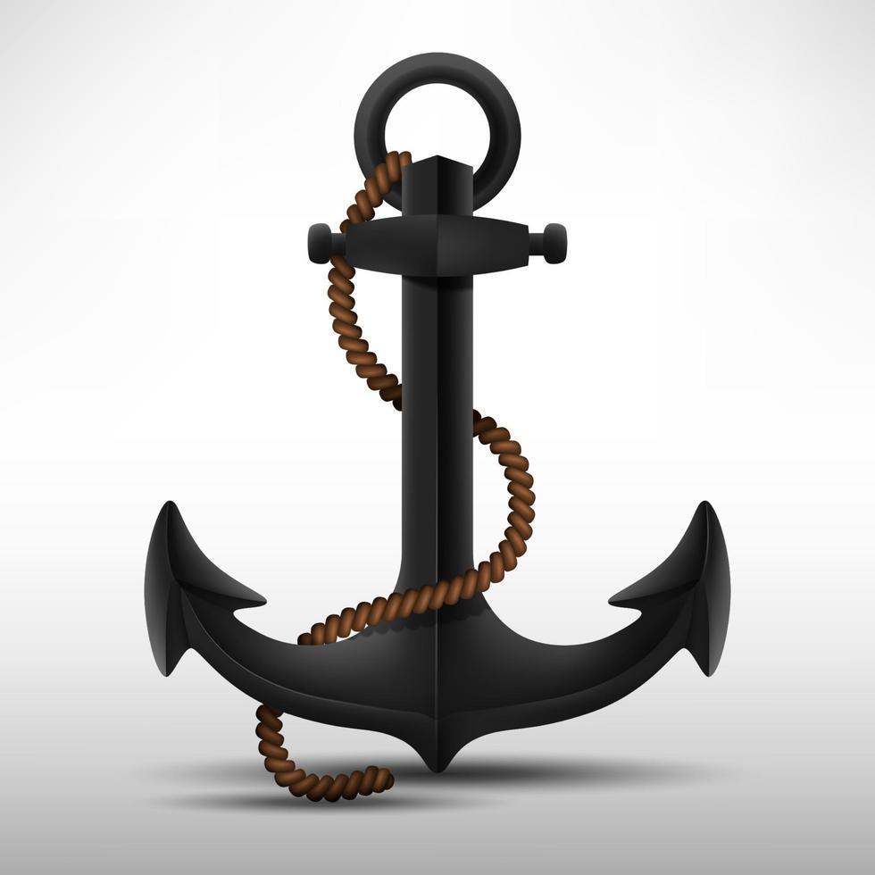 âncora de aço preta realista com corda marrom. ilustração vetorial vetor