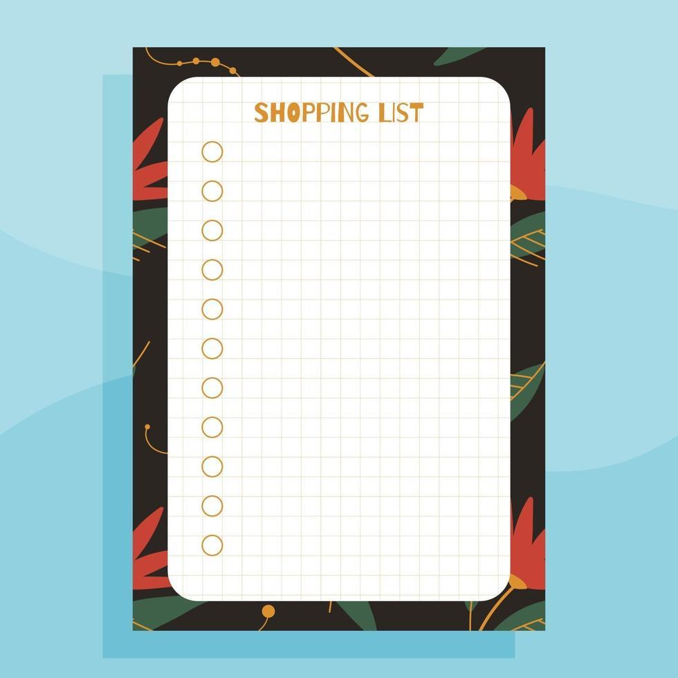 conceito de planejador de lista de compras para impressão vetor
