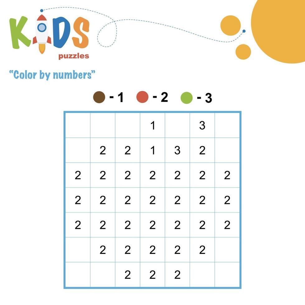 planilha matemática para impressão de cores por números vetor