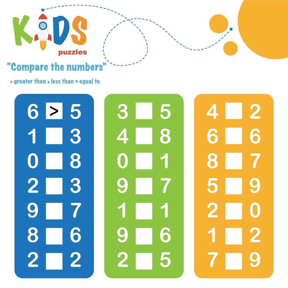 comparação de números, planilha de matemática para impressão vetor