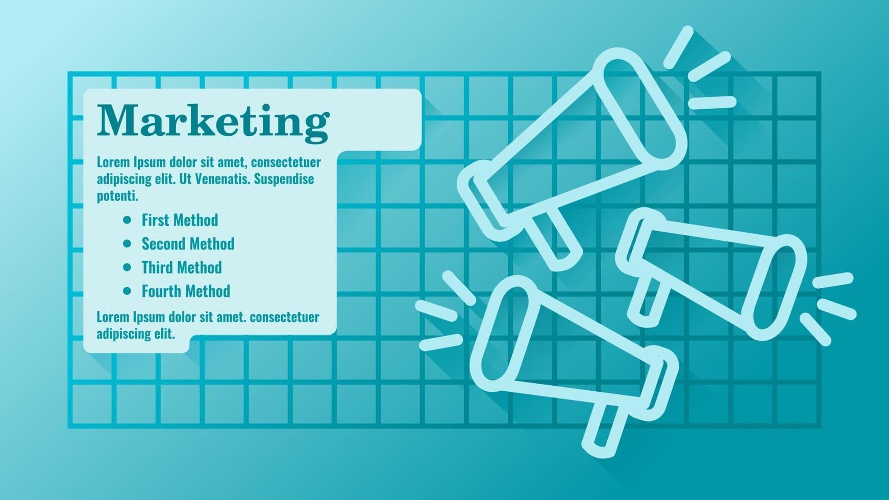marketing empresarial com modelo de apresentação de ícone de megafone vetor
