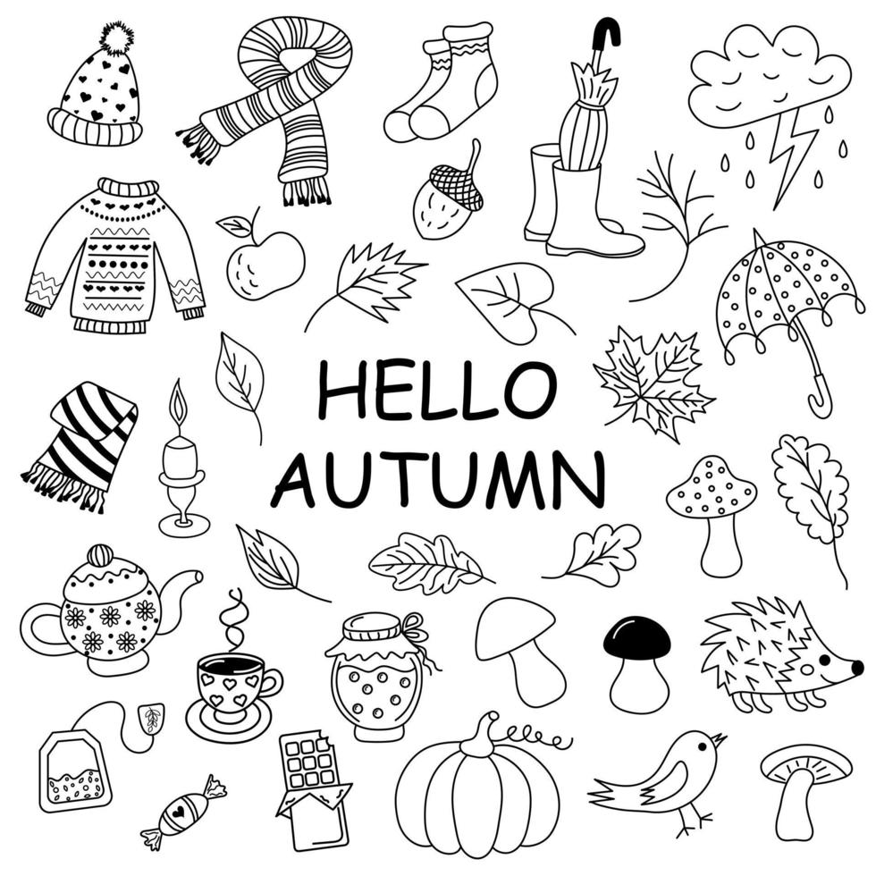 conjunto de doodle de outono. vetor