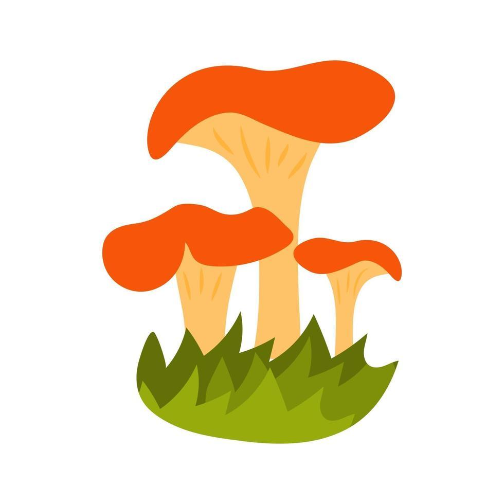 cogumelos na mão desenhada estilo com grama vetor