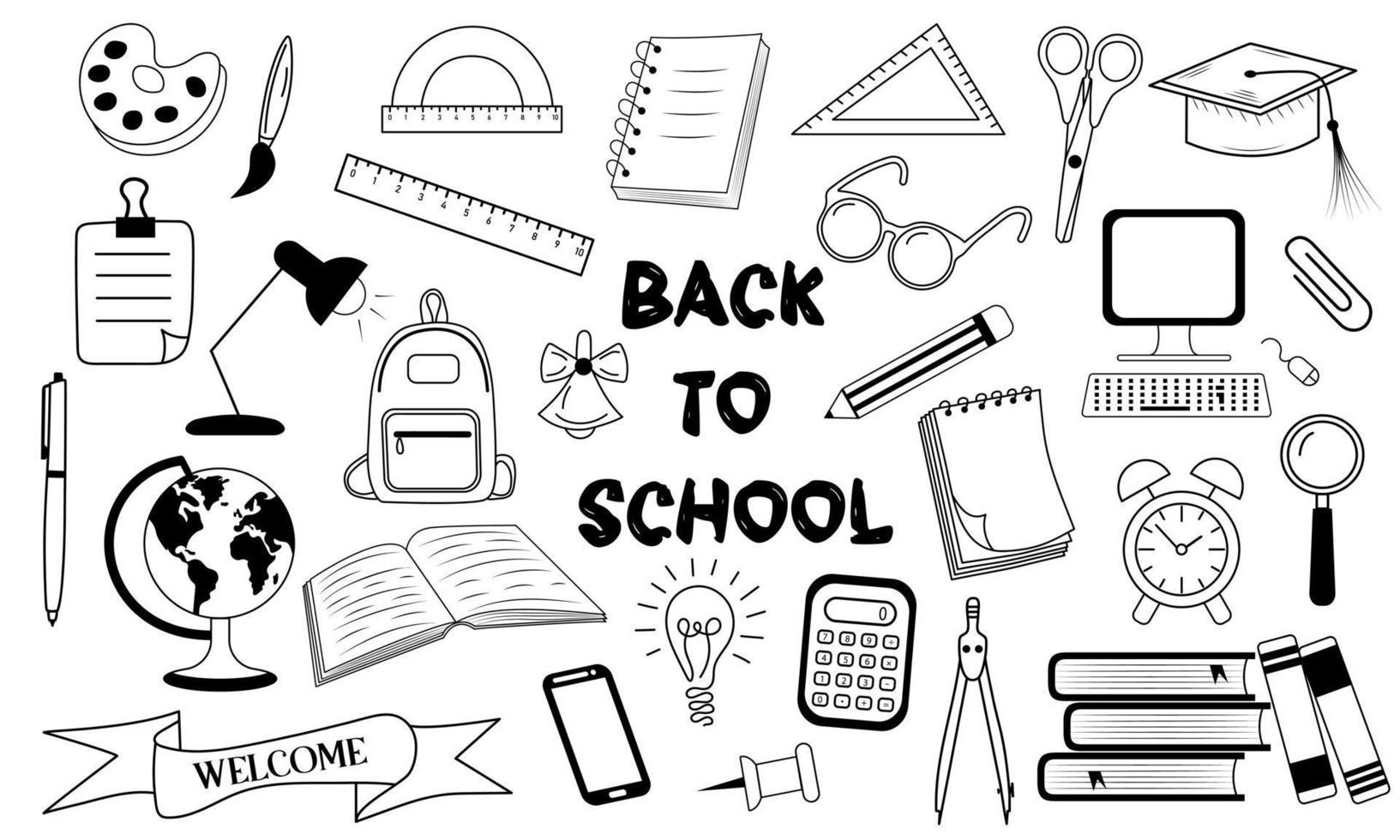 de volta ao conjunto de ícones do doodle da escola. vetor