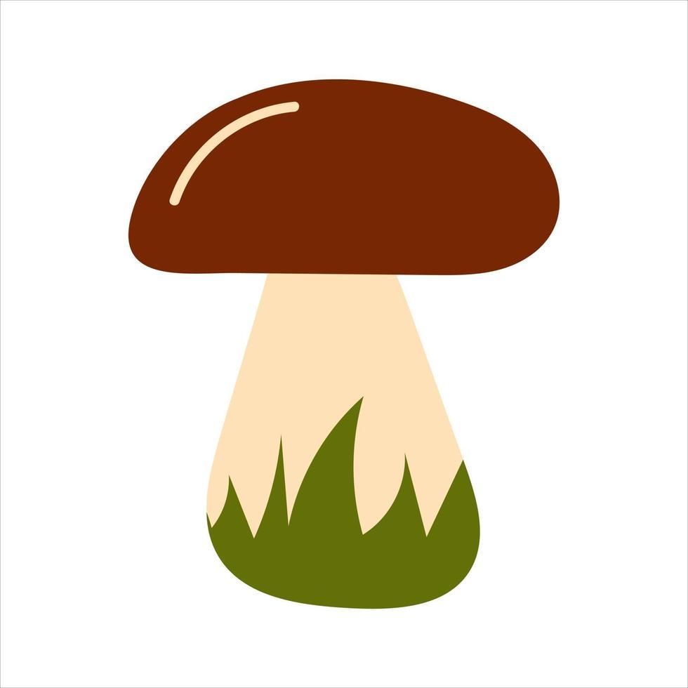 cogumelo na mão desenhado estilo com grama vetor