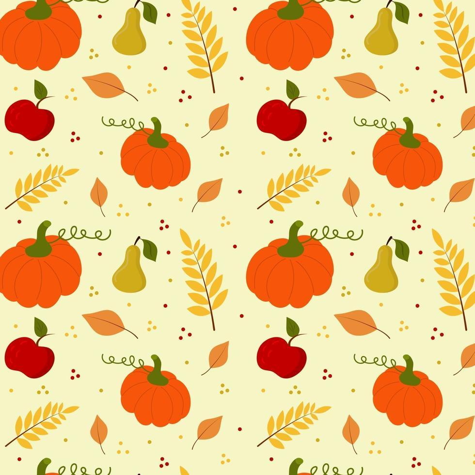 padrão sem emenda com abóbora, pêra, maçã e galho de folhas. vetor