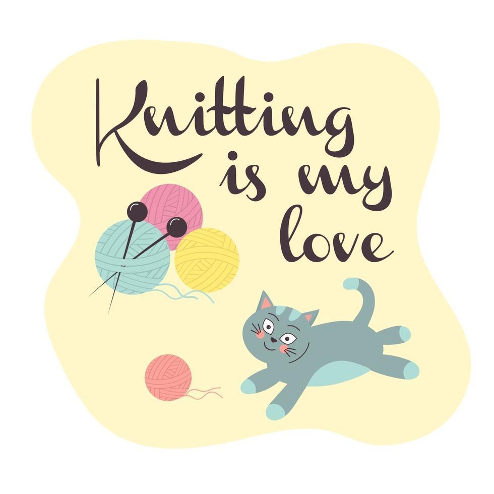 gato bonito com uma bola de tricô. bolas de lã com agulhas de tricô. vetor