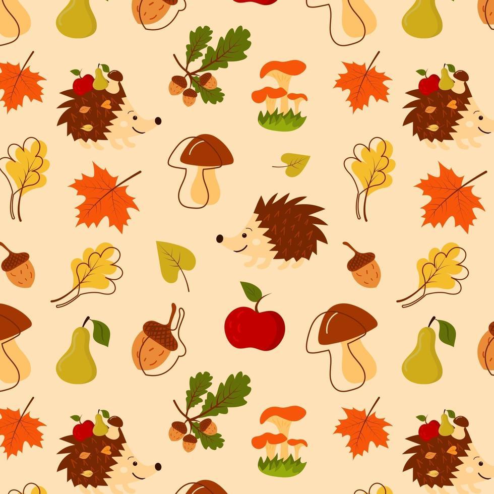 padrão sem emenda com ouriço, bolotas, pêra, cogumelos, folhas vetor
