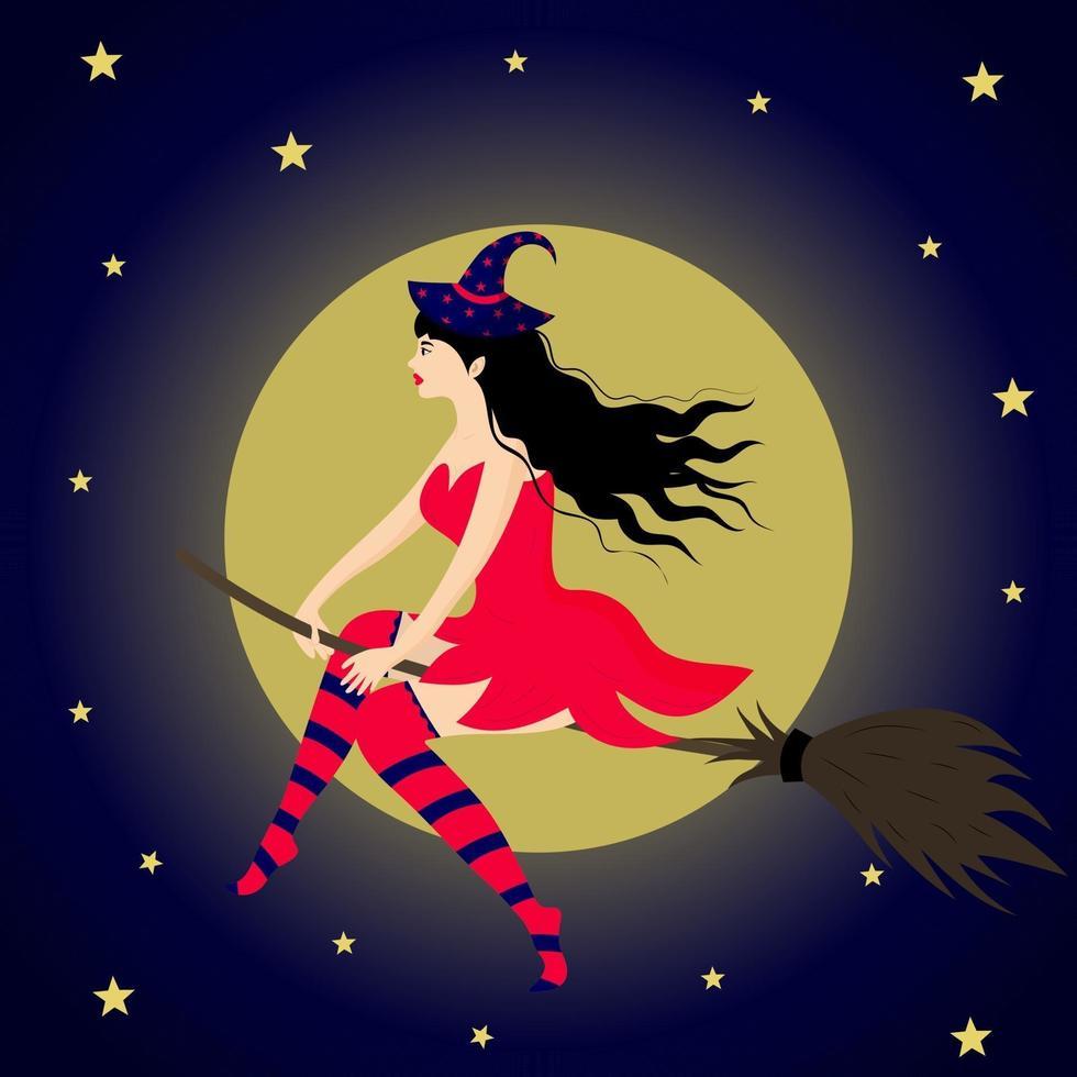 linda bruxa voando em uma vassoura no contexto da lua. vetor