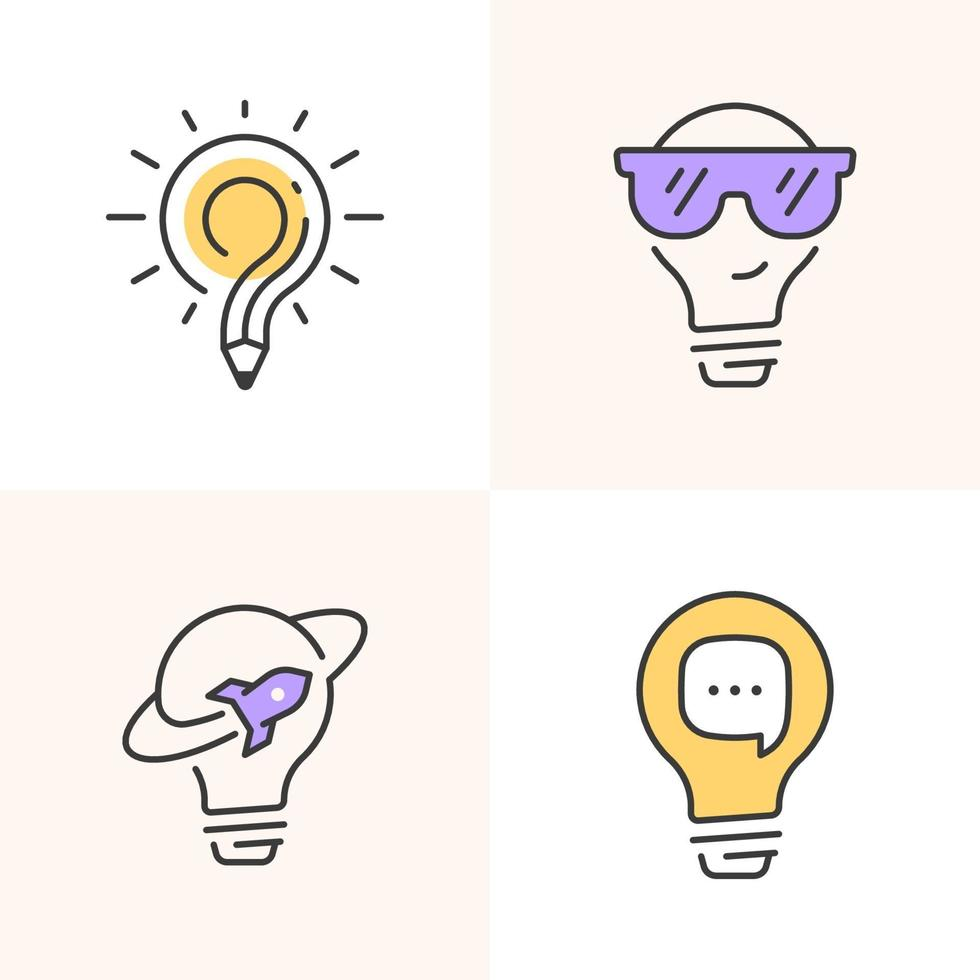 conjunto de ícones de lâmpada de contorno vetor