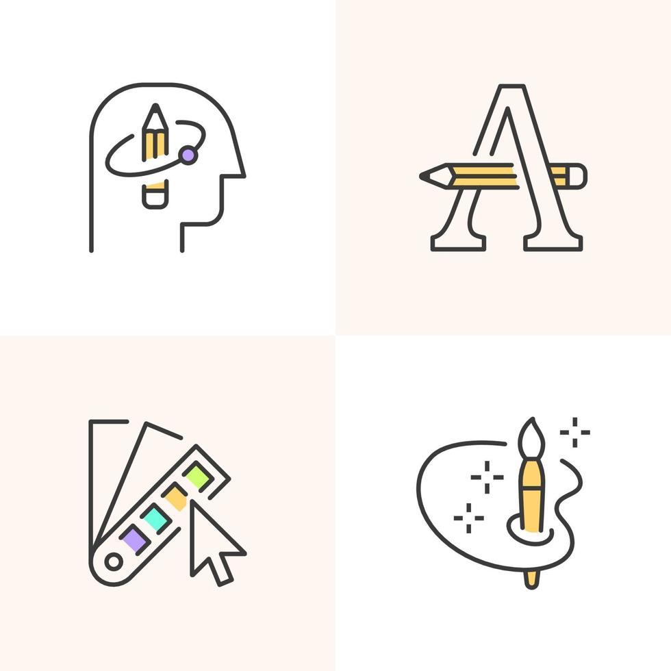 ícones do logotipo criativo para designers. vetor